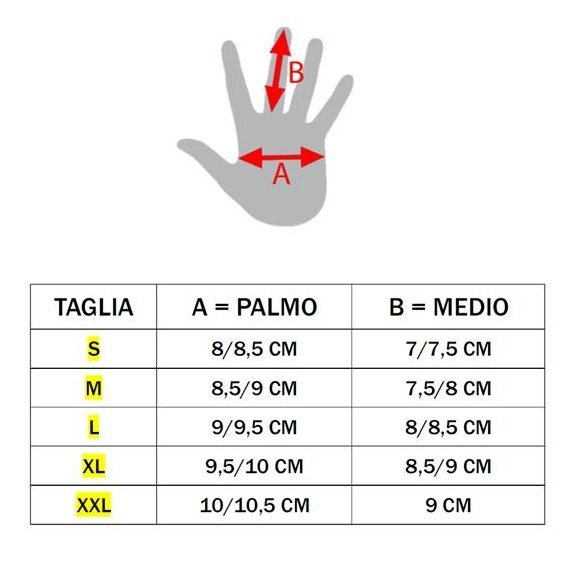 tabella misure guanti k01